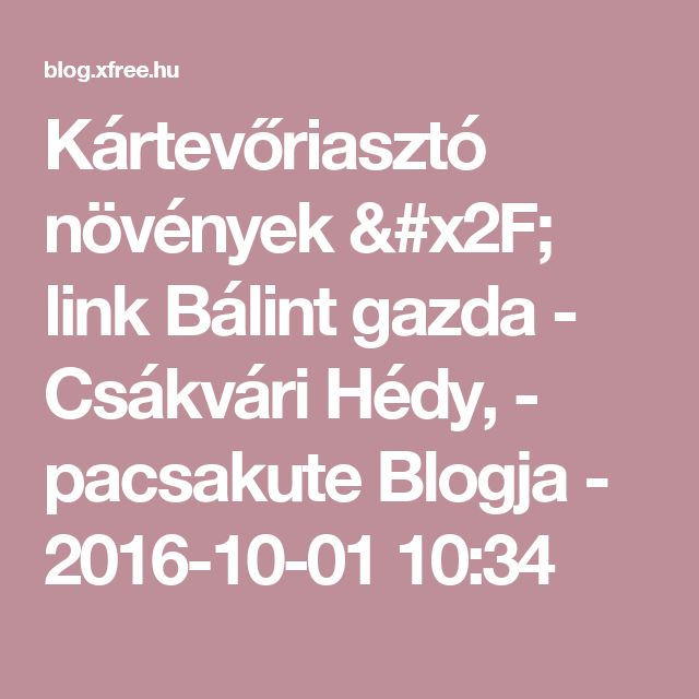 Kártevőriasztó növények /  link   Bálint gazda - Csákvári Hédy,  - pacsakute Blogja - 2016-10-01 10:34
