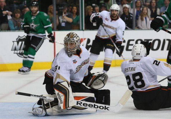 Frederik Andersen #31 of the Anaheim Ducks gives up a goal to Alex Goligoski #33 of the Dallas Stars in the third period during Game Four of the First Round of the 2014 NHL Stanley Cup Playoffs at American Airlines Center on April 23, 2014 in Dallas, Texas.