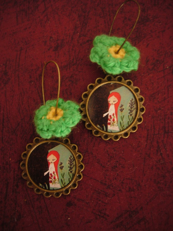 Just hug a tree  art illustrated earrings with a by eltsamp, $27.00