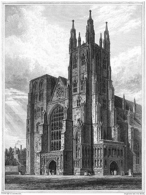 West torens van de kathedraal van Canterbury. Illustratie uit boek: Cathedral antiquities of England, vol. 1 . 1814-1835