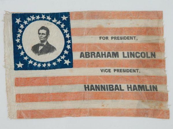 A collection highlight from the Union League archives. A handkerchief from Abraham Lincoln's first presidential campaign in 1860, with Hannibal Hamlin as his running mate. Handkerchiefs like these were used as promotional material, much like the way we use bumper stickers today. To view more of the collections, visit http://www.ulheritagecenter.org/research-and-exhibit/research-collections/archives-art-catalog/.