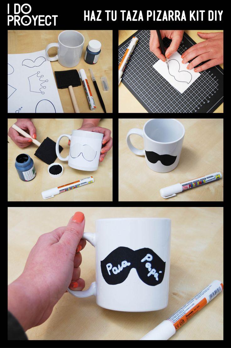 Haz tu taza pizarra, KIT DIY, para decorar una taza con pintura de pizarra y convertirla en una forma divertida de pasarse mensajes durante el desayuno!