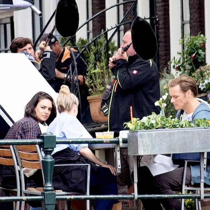 """Sam, Mila Kunis and Kate McKinnon shooting """"The Spy Who Dumbed Me"""" in Amsterdam today #samheughan #outlander #jamiefraser #thespywhodumbedme #movie #set #amsterdam #milakunis #katemckinnon (Credits to the one who owns this pic.)  via ✨ @padgram ✨(http://dl.padgram.com)"""