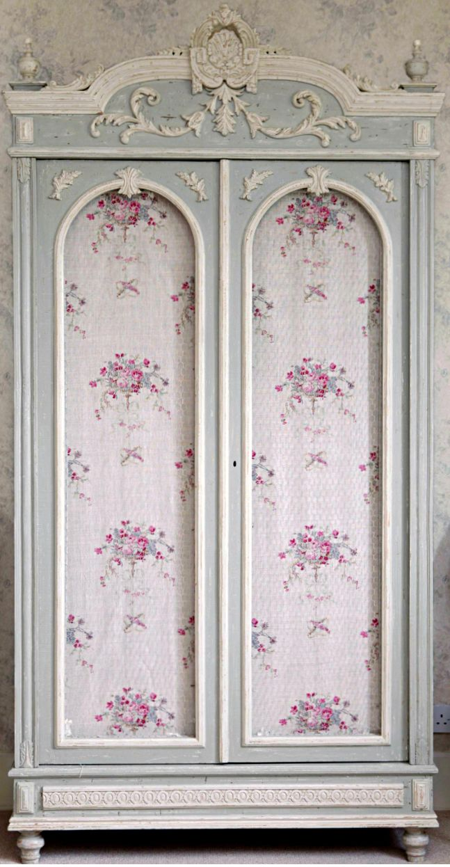 English Cottage Decor ●  wardrobe - Replace the fabric with full-length mirrors...Perfection!