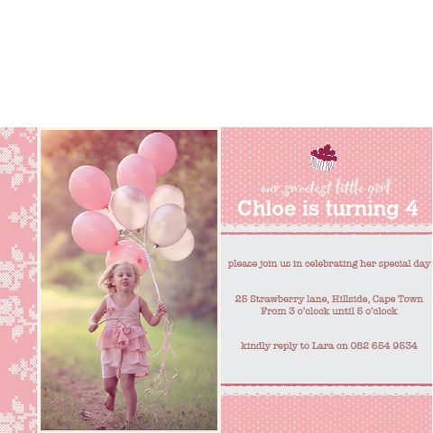 Pink Cupcake Invitation | creativeparty.co.za  This scrumptious cupcake design is sure to lure friends and family to your daughters birthday party. We have a team of designers waiting to personalise your child's name and photo into this selected theme . All you need to do is choose how many invitations you need, send us the party details and photo and we will take care of the rest.