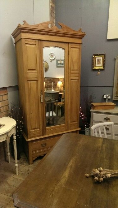 Beautiful edwardian satinwood wardrobe, bottom drawer and cornice, hand stripped back to the wood, £245
