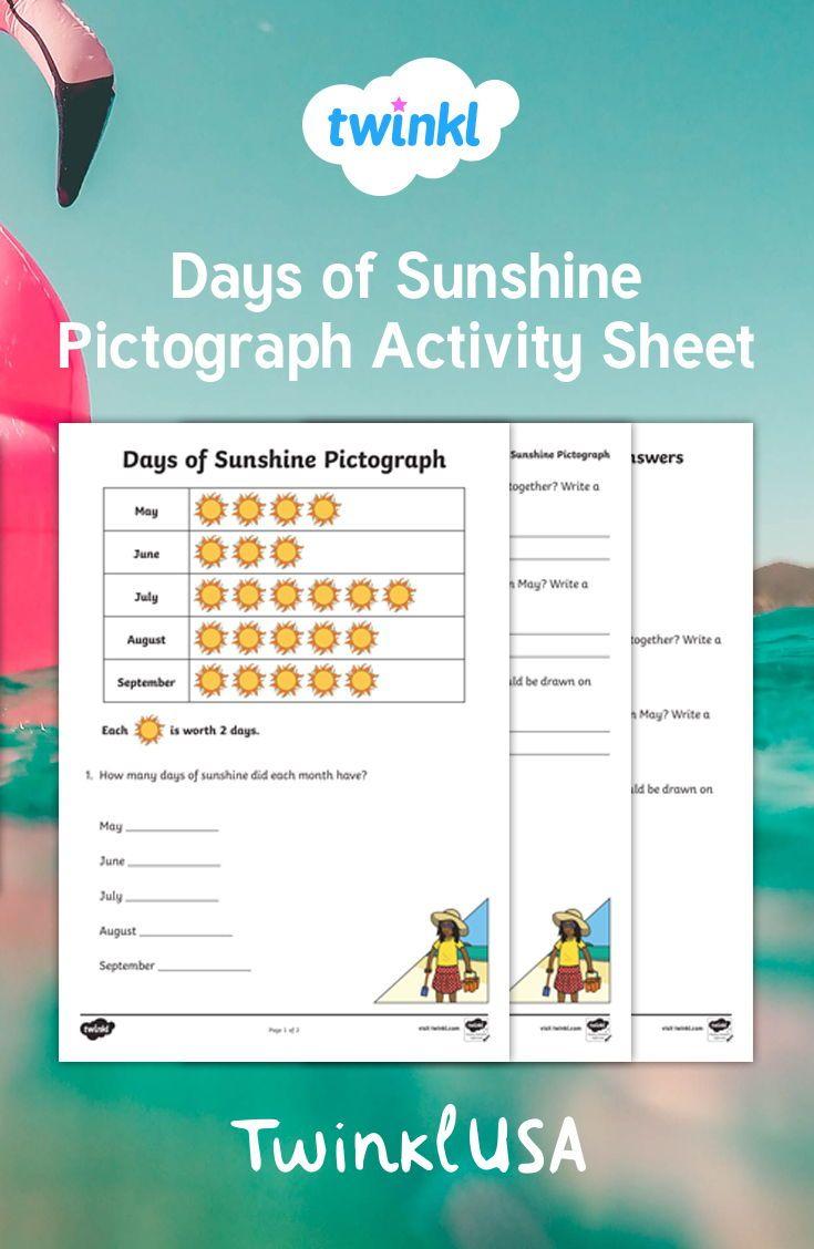 Days Of Sunshine Pictograph Activity Pictograph Activities Math Teks Pictograph [ 1128 x 735 Pixel ]