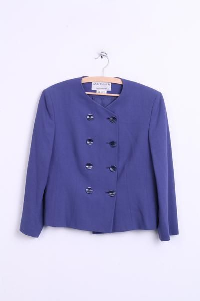 Jaeger Womens 14 L Blazer Top Suit Navy Double Breasted Crew Neck Cropped Top - RetrospectClothes