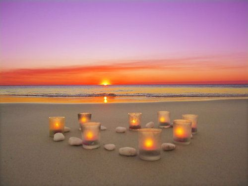 Sunsets: At The Beaches, Romantic Sets, Idea, The Ocean, Candles, My Heart, Sunsets Beaches, Beautiful Sunsets, Beaches Sunsets