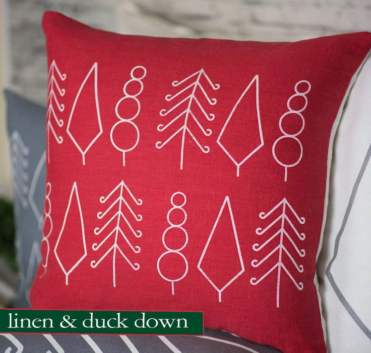 Christmas Pillow | Scandinavian Pillow | Christmas Scandinavian Pillow | Christmas Tree Pillow | 20x20 Pillow | Handprinted Pillow by ObjectFabricate on Etsy