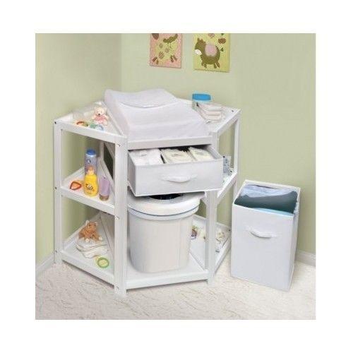 Corner Changing Table Baby Diaper Station With Hamper Nursery Gift Dresser