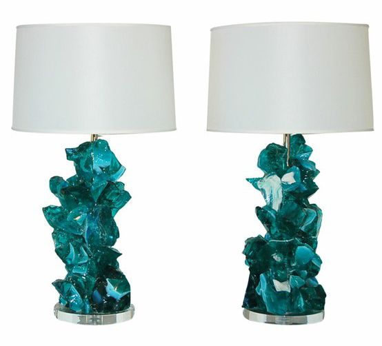 Teal Table Lamps: Swank Rock Candy Lamps...turquoise! Iced teal table lamps,Lighting