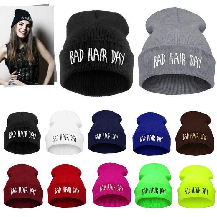 Hot Fashion New Unisex Men Women Sport Winter Hat Bad Hair Day Snap Back Beanie Knit Hip Hop Warm Ski Cap For Women Cheap Z1