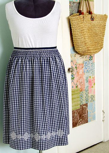 gingham skirt- make with wide elastic waistband. Embroidered hem.