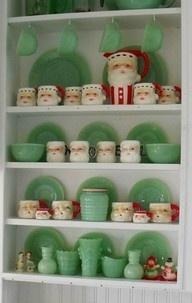 jadette milk glass with red santas - well, at least I have the Santa mug collection!