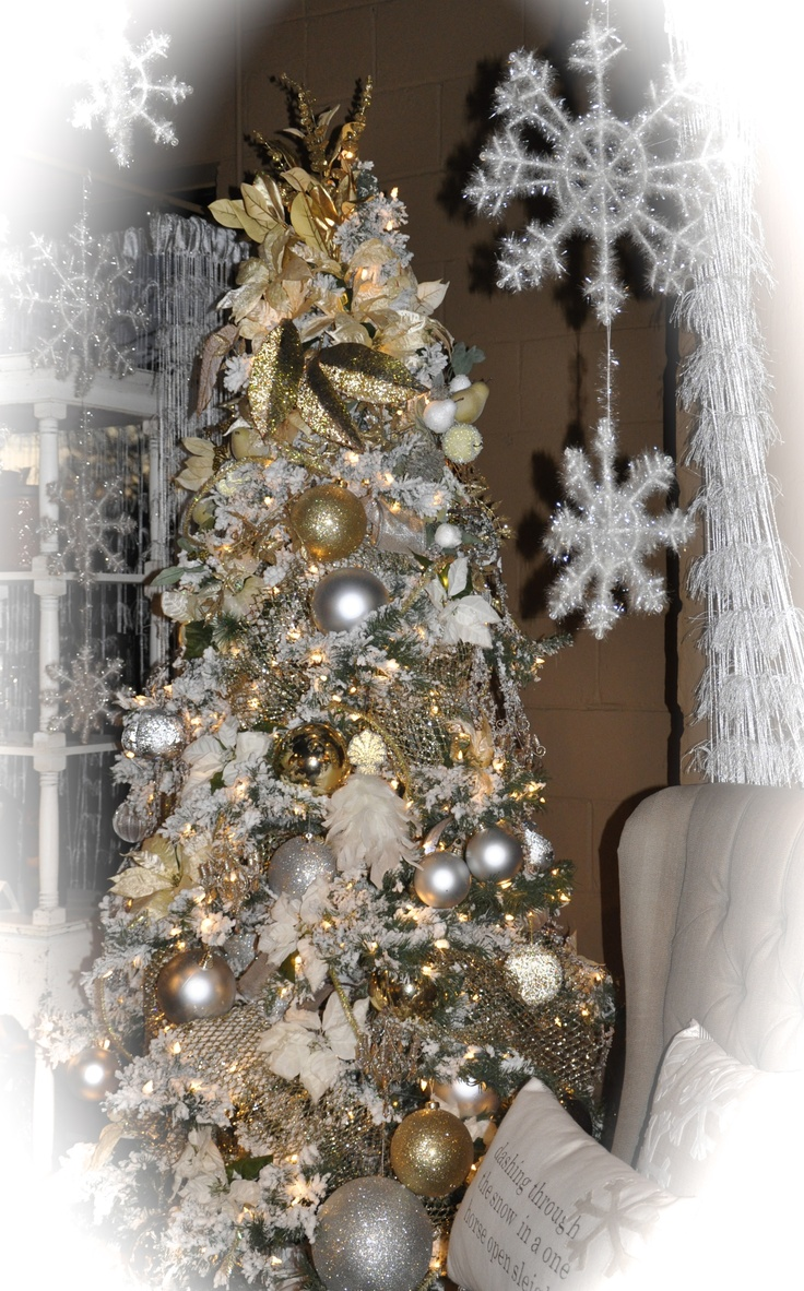 Silver and gold christmas tree holiday decor pinterest for Gold xmas tree