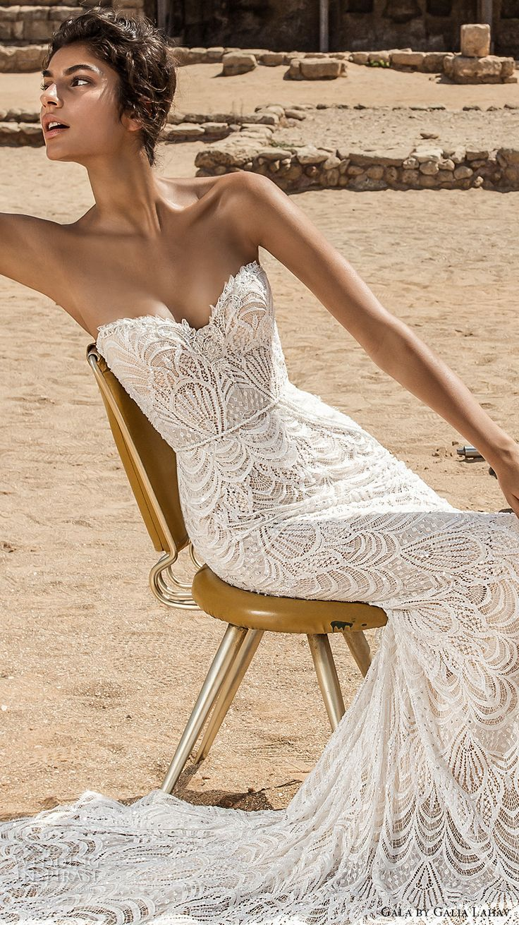 galia lahav gala 2017 bridal strapless sweetheart neckline full embellishment elegant lace sheath wedding dress chapel train (809) zv