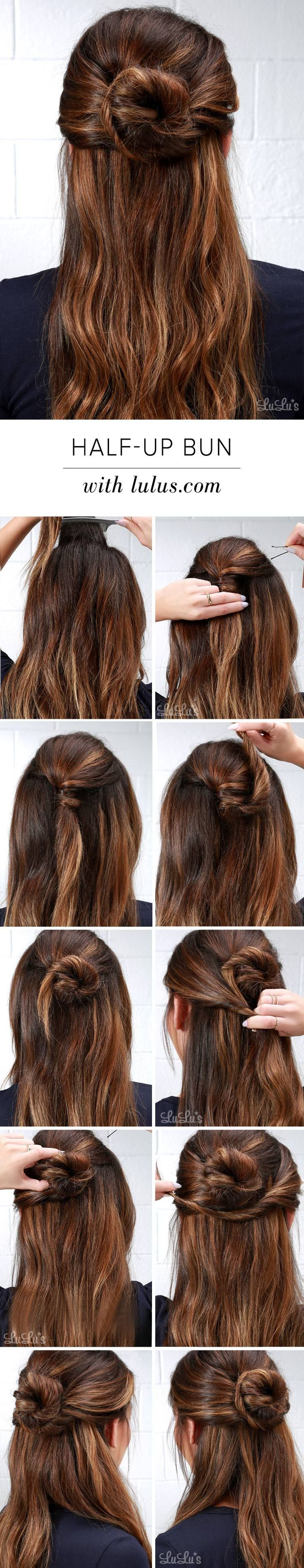 1. Begin with wavy hair, create volume by backcombing under the crown.  2. Loosely twist back the hair from the crown of your hair, leave out pieces on both sides framing your face.  3. Center the twisted piece & pin.  4. Carefully twist the ponytail up & counterclockwise.  5. Your twist should now look like a bun.  6. Hold the bun in place and pin underneath.  7. Combine the left front hair to the tail of the bun as shown.  8. Use the remaining front hair on right to twist back & under the…