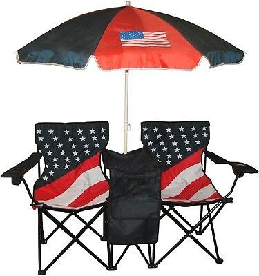 Folding Chairs with Umbrella Twins US Flag Print Patio