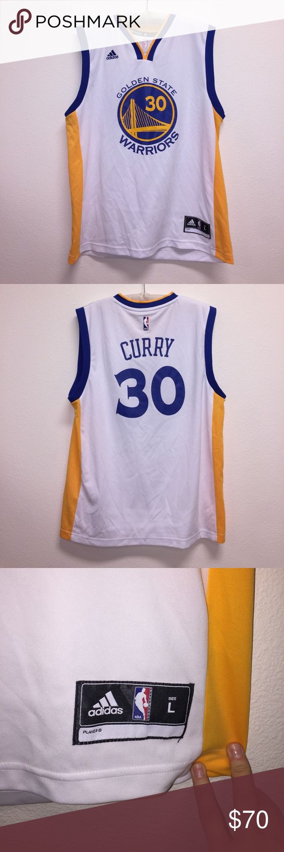 Men's Stephen Curry Warriors Jersey Size men's L. In excellent condition! Has a few little marks on the shoulder I am 100% positive will come out in wash. No other flaws. Go Dubs! Feel free to ask any questions! No trades sorry, & offers thru offer button only! 😊x. M adidas Shirts
