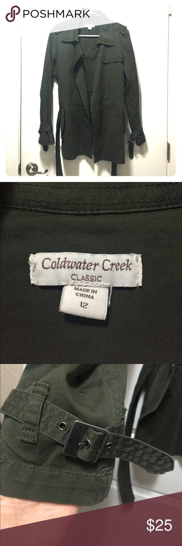 Coldwater Creek Jacket size 12 Gorgeous Coldwater Creek olive green jacket, size 12. 98% cotton, 2% spandex. Belt closure, no buttons. Excellent condition, beautiful details. Coldwater Creek Jackets & Coats