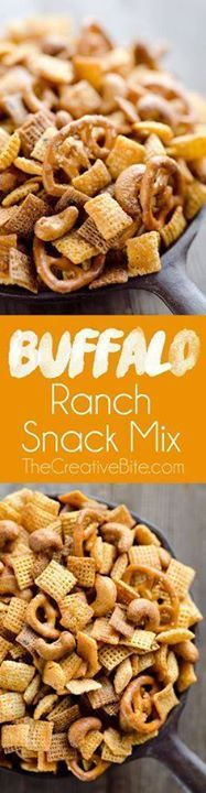 Buffalo Ranch Snack Buffalo Ranch Snack Mix is an easy treat...  Buffalo Ranch Snack Buffalo Ranch Snack Mix is an easy treat perfect for the big game or holidays. Chex Mix is combined with pretzels and cashews and tossed in a spicy buffalo ranch sauce for a twist on your traditional snack mix. Recipe : http://ift.tt/1hGiZgA And @ItsNutella  http://ift.tt/2v8iUYW
