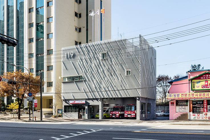 the program layout for short circulation and open offices of yong ju lee architecture\'s \'myeonmok fire station\' increases work efficiency and firefighters' mobilization for emergency response.