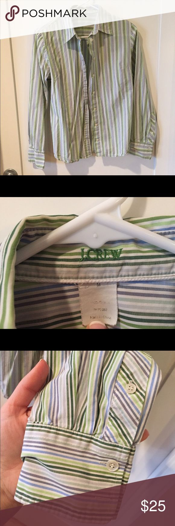 100% cotton blue & green striped button-down shirt Blue, green, & grey vertical-stripe 100% cotton button-down shirt by J. Crew.  Slim M.  Princess seams along back make for gorgeous fit.  Perfect under a well-fitted grey suit! J. Crew Tops Button Down Shirts