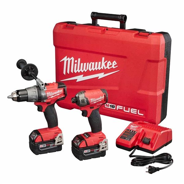Milwaukee 2899-22 M18 FUEL 2-Tool Combo Kit w/ Hammer Drill and 1/4 in. Hex SURGE Impact