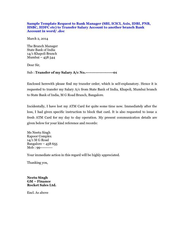 Sample Application Letter Bank Branch Change