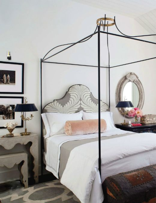 Bedroom from the House of Windsor with Tara Shaw Maison canopy bed. (Veranda, October 2011)