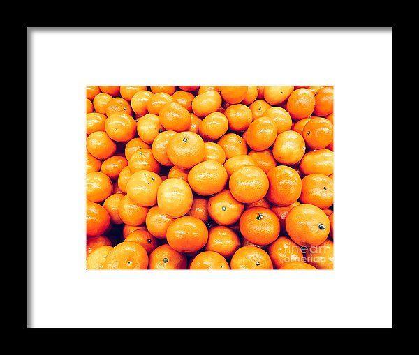 Orange Tangerines In Fruit Market Framed Print