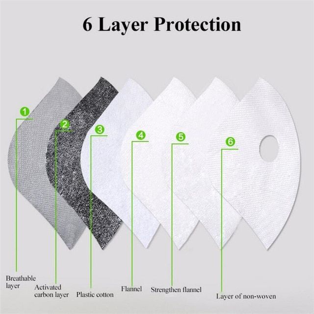 Pm 2 5 Mask Filter Carbon Bike Dust Protector Sport Half Face