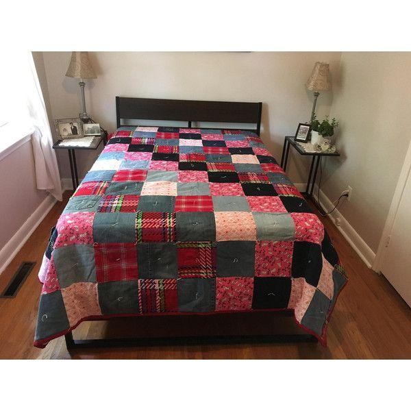"DENIM Patchwork Quilt, Queen Size Quilt, Homemade Quilt, 87"" x 93... ($312) via Polyvore featuring home, bed & bath, bedding, quilts, white queen bedding, white bed linen, patchwork bedding, denim bedding and queen bedding"