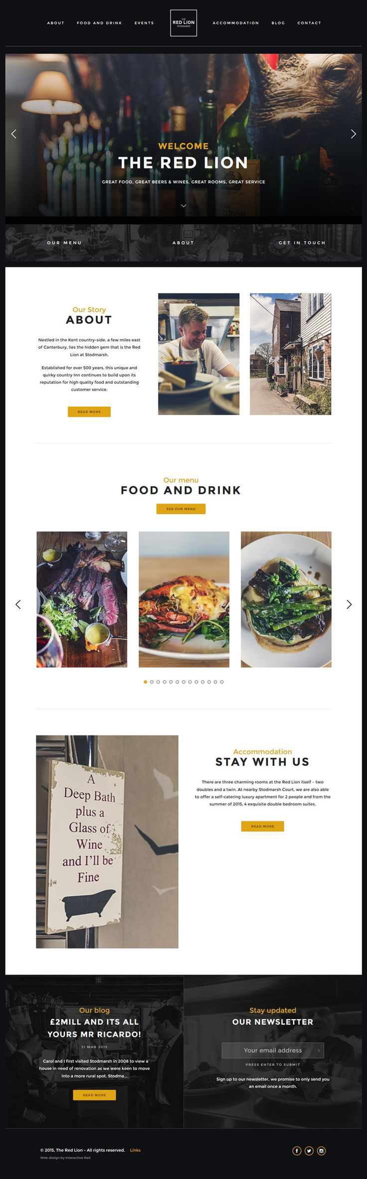 The Red Lion - Restaurant Design Website
