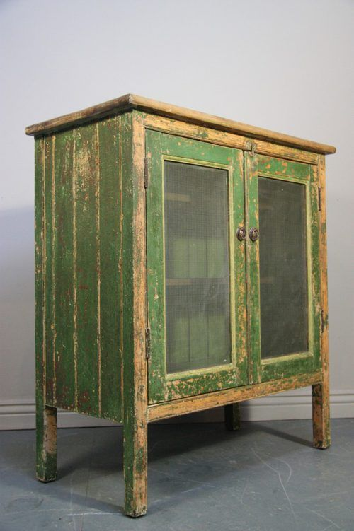 This antique pine food cupboard /safe is in the original historically correct green paint finish. ~♥~