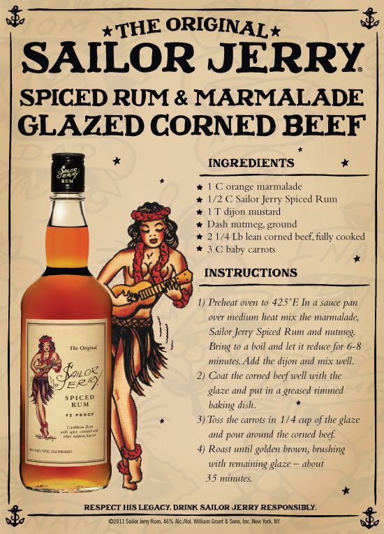 Sailor Jerry Spiced Rum and Marmalade Glazed Corned Beef