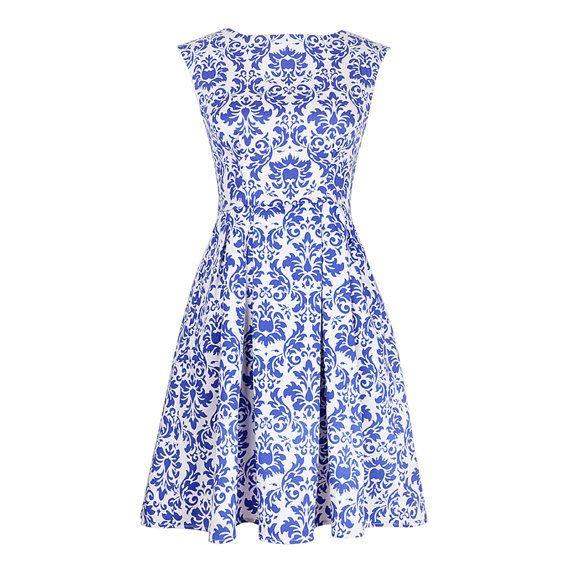 Sleeveless dress Day dress Blue dress White dress Printed