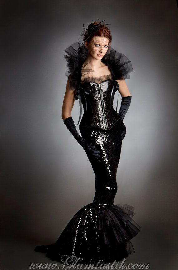Custom Size Black sequin mermaid style tulle dress with detachable ...
