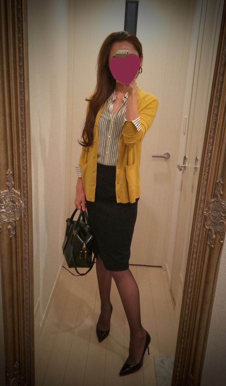 Striped black & white buttoned blouse + Black skirt + yellow sweater + black bag + black heels - http://ameblo.jp/nyprtkifml