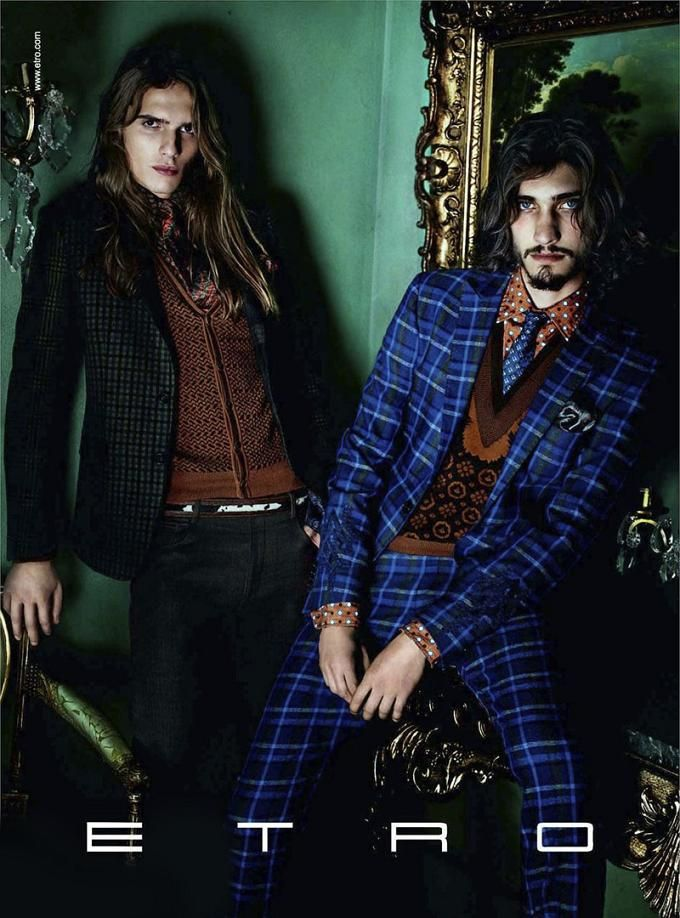ETRO FALL/WINTER 2011.12 AD CAMPAIGN/old I know, but I just love> to see men having fun with pattern and colour. The blue plaid look with the layered patterns underneath are drool worthy.