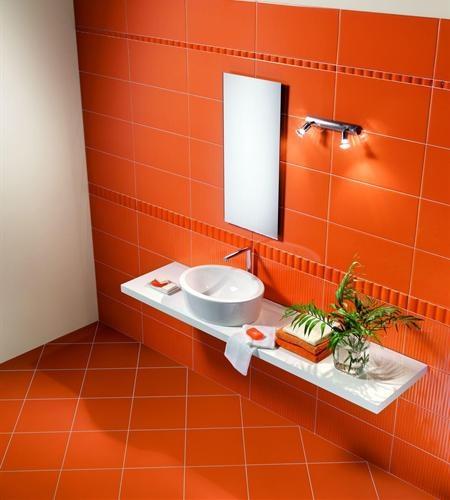 Cool Orange Tiles in the Bathroom | Orange You Glad ...