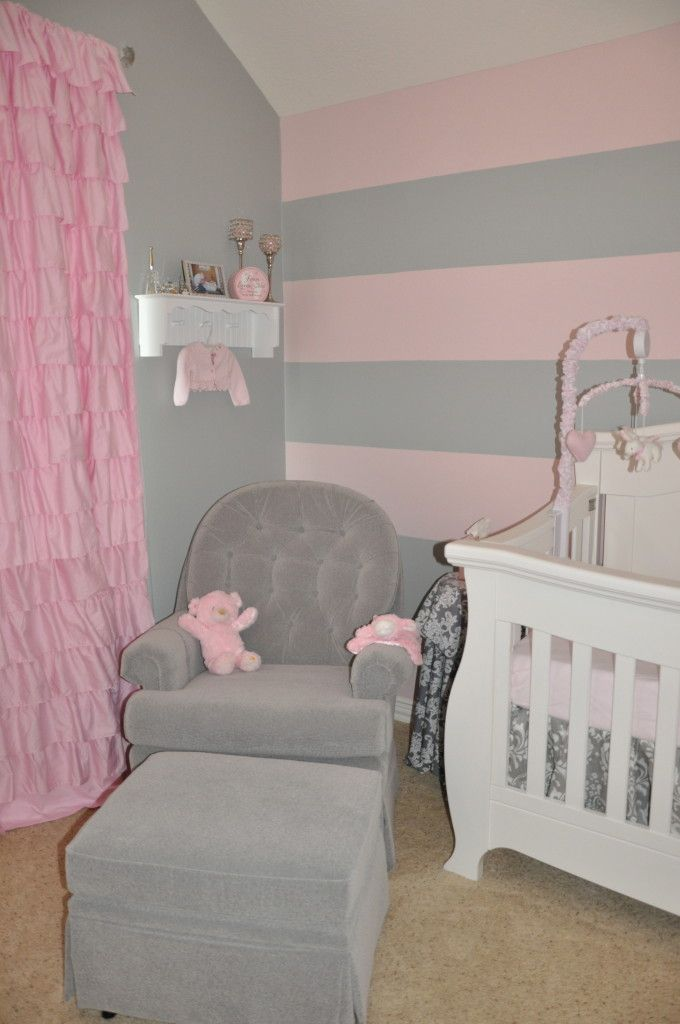 Peyton S Pink And Gray Nursery Grey Walls Striped Walls