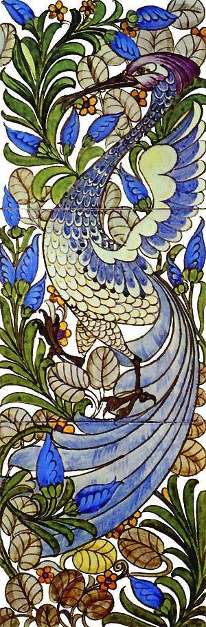 William De Morgan: Fantastic Bird Tile Panel