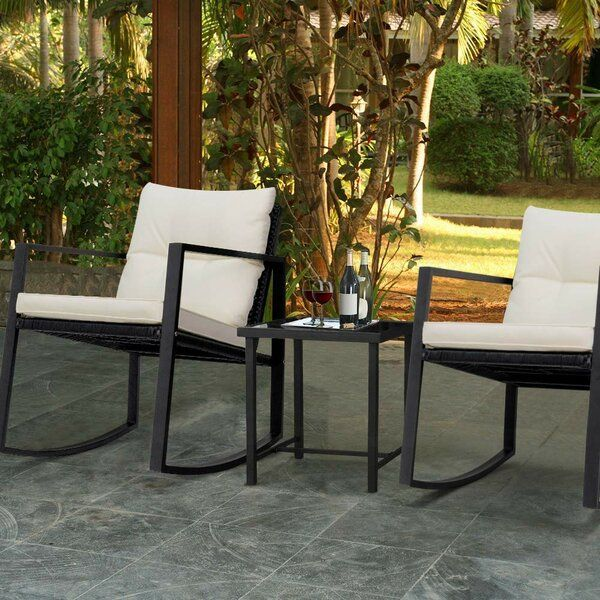 Beauman 3 Piece Seating Group With Cushions Outdoor Rocking