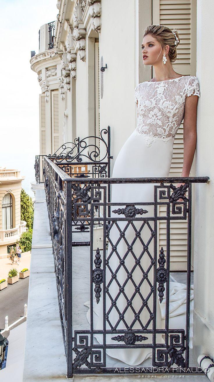 alessandra rinaudo 2017 bridal cap sleeves bateau neckline heavily embellished bodice elegant sheath wedding dress low back long train (bruna) mv