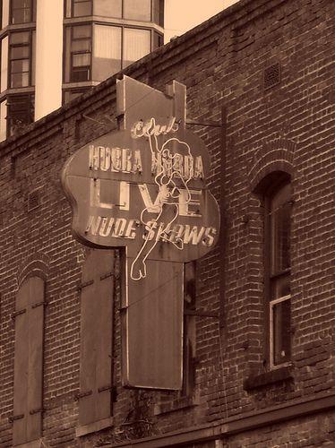 Club Hubba Hubba – famous World War II strip club (sign) – N. Hotel Street (sepia tone)