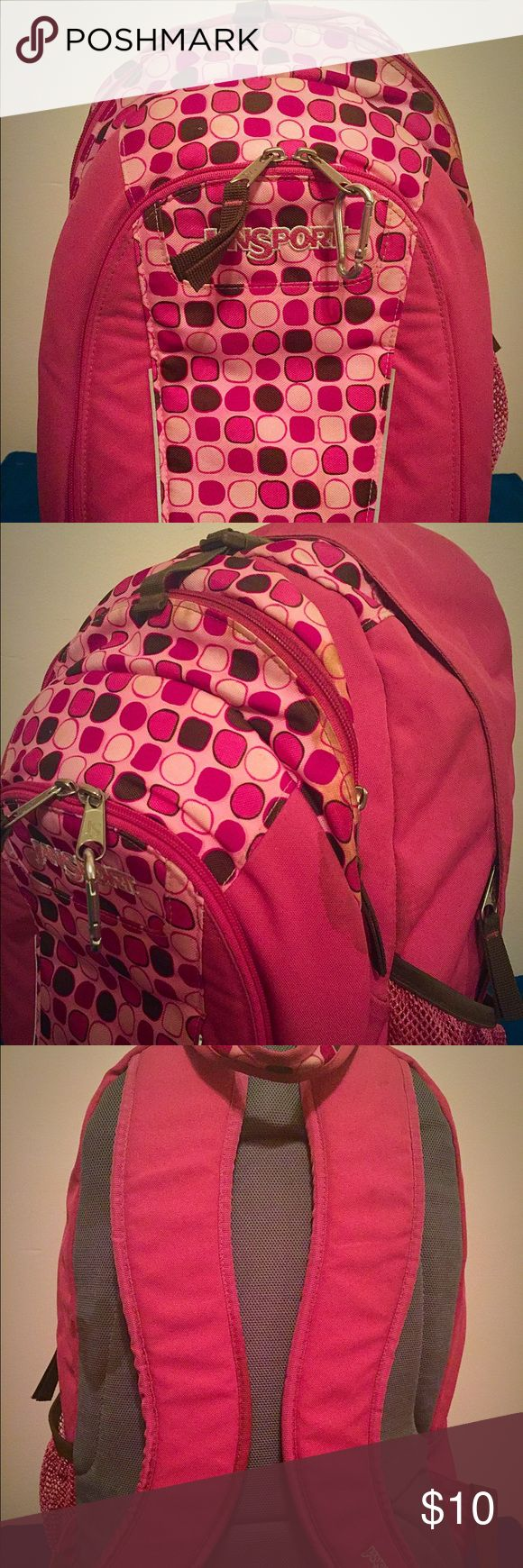 Adorable Pink Jansport Backpack This is a very well loved backpack. It has multiple pockets (including an insulated one), a cup holder, padded straps, etc. There are some stains on the backpack, but in great condition other wise! Jansport Bags Backpacks