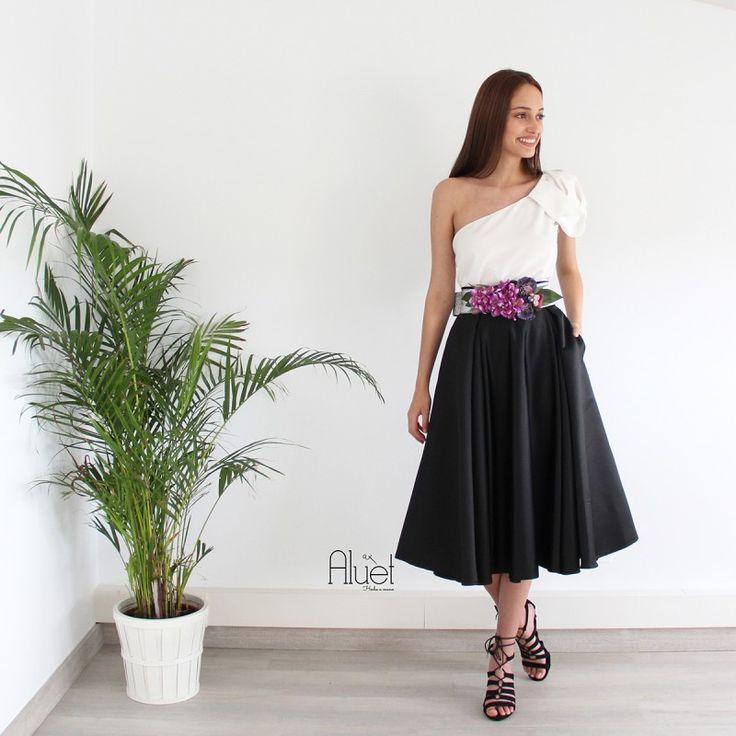 falda midi negra mikado para boda confeccionada a medida