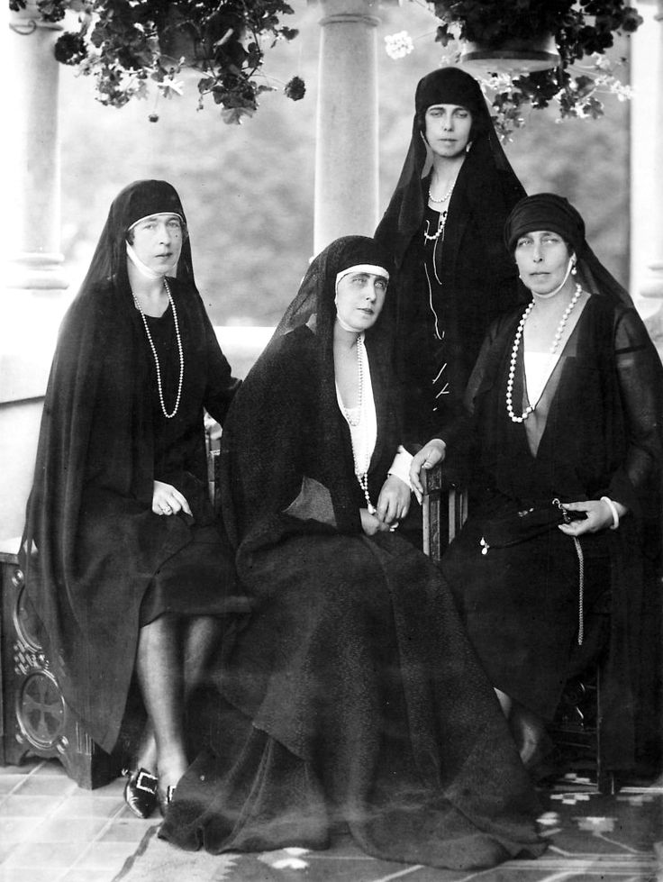 Sisters in mourning for King Ferdinand of Romania, from left: Her Royal Highness The Princess of Hohenlohe-Langenburg; HM Queen Marie of Romania; Her Royal Highness Princess Alfonso de Orleans y Borbón; Her Imperial Highness Grand Duchess Viktoria Feodorovna of Russia, 1927.